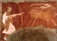 Las representaciones de caza responden a una simbología religiosa, el ciervo es imagen de Dios y el cazador del demonio. Pintura románica de la ermita de San Baudelio de Berlanga, Casillas de Berlanga (Soria).