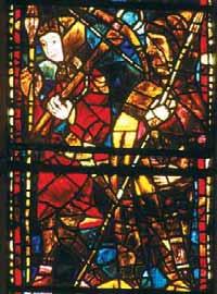 Halconero (iz.) y ballesteros cazando (sup.). Vidrieras góticas de la catedral de León.