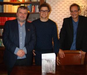 Pola esquerda, Manuel Bragado (director de Xerais) e César Parcero e Felipe Criado, do Instituto de Ciencias do Patrimonio do CSIC / CSIC Galicia