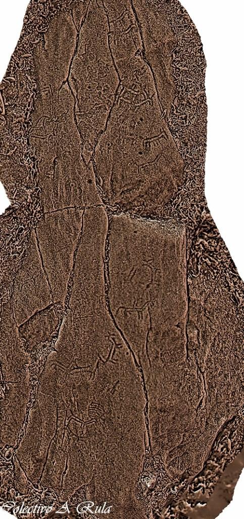 Fotogrametría cos sucos da Pedra da Moura resaltados manualmente / A Rula