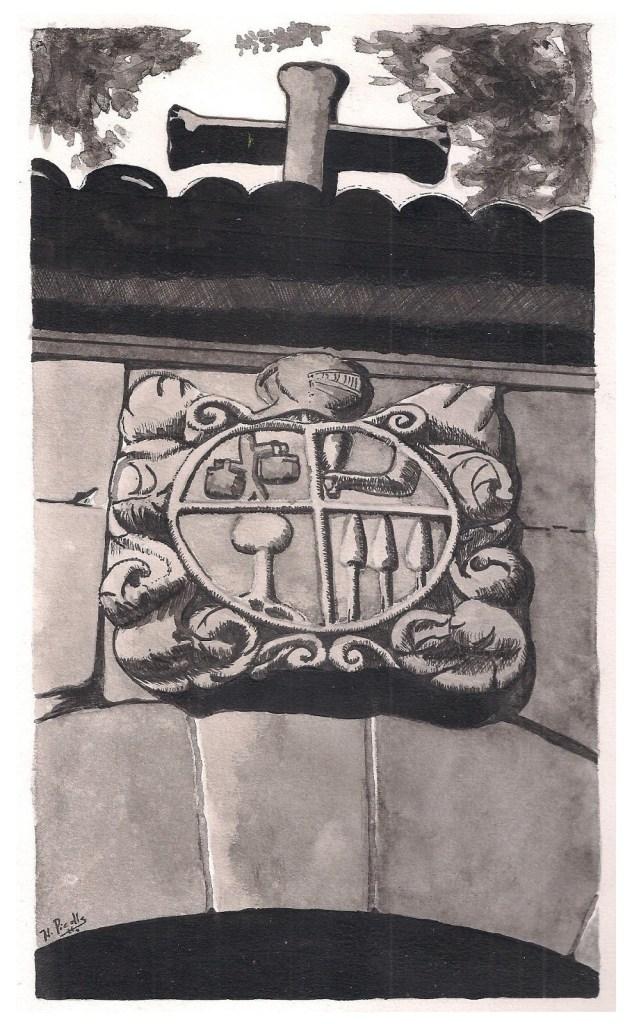 Escudo da casa do Rapeira (Moraña) da familia de Xosé de Caldas e Tenorio / Debuxo de Héitor Picallo