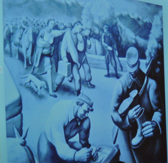 Debuxo de republicanos nun campo de concentración