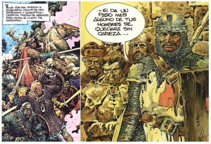 Viñetas do libro de BD sobre a época medieval e o Cid, Roncesvalles