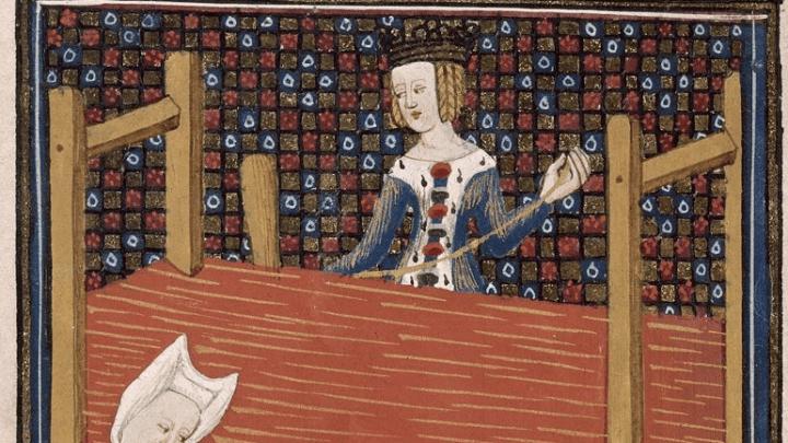 Ilustración de 'De Mulieribus Claris', nunha edición de circa 1440:catro mulleres cardando, fiando e tecendo no capitulo de Gaia Cecilia. (i.1)
