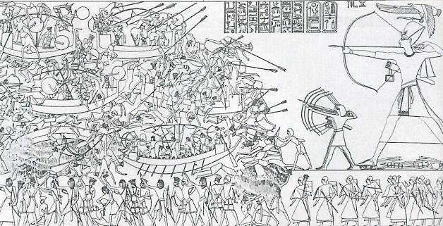 Representación de la Batalla del Delta, en el que se representa a Ramsés III venciendo a los pueblos del mar, consecuencia de la crisis del 1200