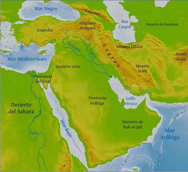 Mapa De Oriente Medio El Creciente Fertil.Geografia Del Oriente Proximo