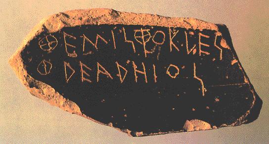 Óstrakon con el nombre de Temístocles