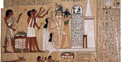 Escena del Libro de los Muertos del Papiro de Hunefer en el que se representa la ceremonia de la Apertura de la Boca
