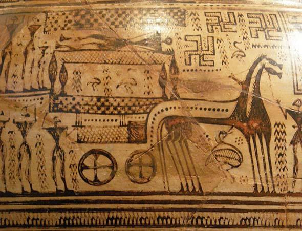 Representación en una cerámica de estilo geométrico del rito funerario griego de la ekphorá