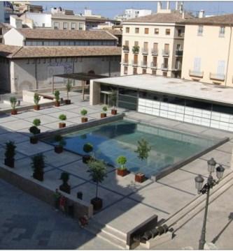 El yacimiento y museo de la Almoina visto desde el aire