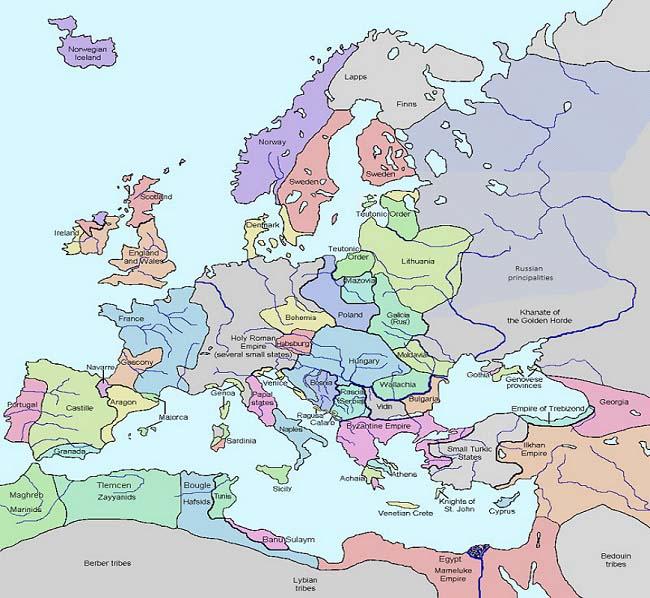 Mapa de los reinos europeos a principios del siglo XIV