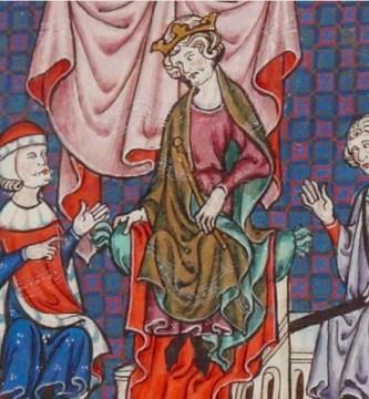 Representación del Consejo de nobles presidido por Jaime II de Aragón en una obra contemporánea