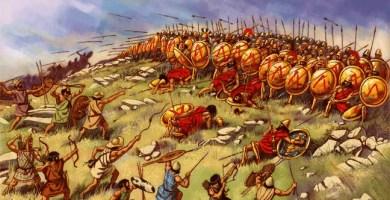 Ilustración que recrea la Batalla de Esfacteria, importante en la antigua Grecia