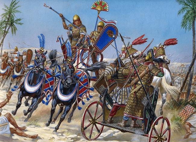 Ilustración que recrea a Tutmosis III cargando contra el rey de Kadesh en la batalla de Meggido (Arrecaballo)