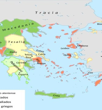 Mapa de la antigua Grecia en el año 362 aC