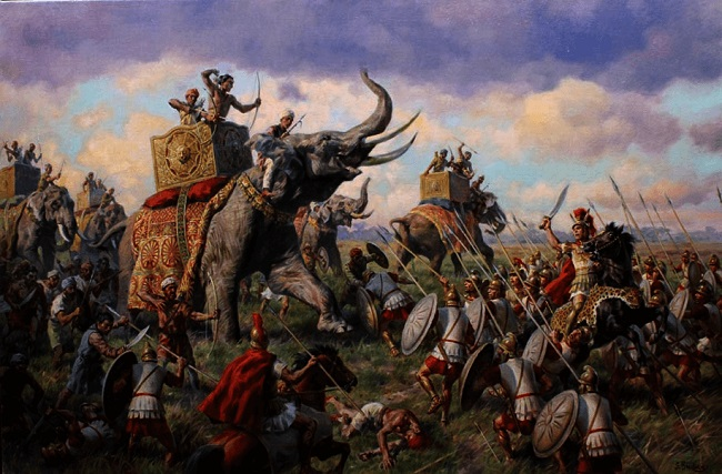 Ilustración sobre la batalla de Hidaspes 326 aC Arrecaballo