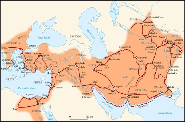 Mapa de la máxima extensión del imperio de Alejandro Magno, incluyendo la localización de la batalla de Gaugamela