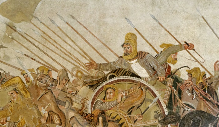 Detalle del Mosaico de Issos en Pompeya donde se aprecia al emperador persa Darío III, perdedor en la batalla de Gaugamela