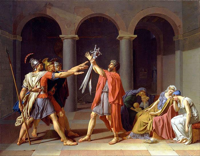 El juramento de los Horacios, obra de Jacques-Louis David hecha en 1784 basada en una de las leyendas de la monarquía romana