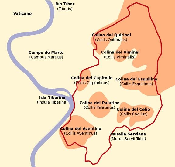 Mapa de las siete colinas de Roma