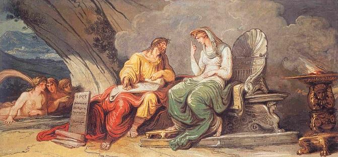 Numa Pompilio recibe de la ninfa Egeria las leyes de Roma (1806) de Felice Giani, obra sobre el segundo rey de la monarquía romana