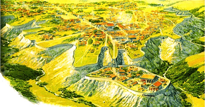 Reconstrucción de la ciudad de Veyes, objeto de la conquista romana, hacia el año 400 a.C. Peter Connolly