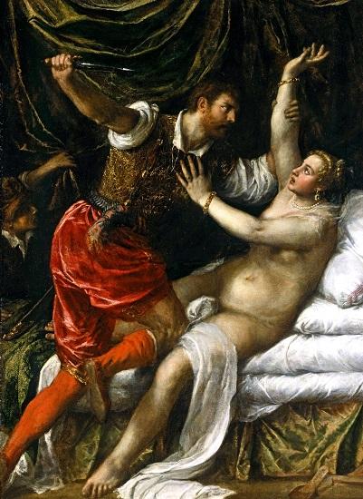 Tarquinio y Lucrecia, obra de Tiziano hecha en el siglo XVI, recrea la violación de Lucrecia