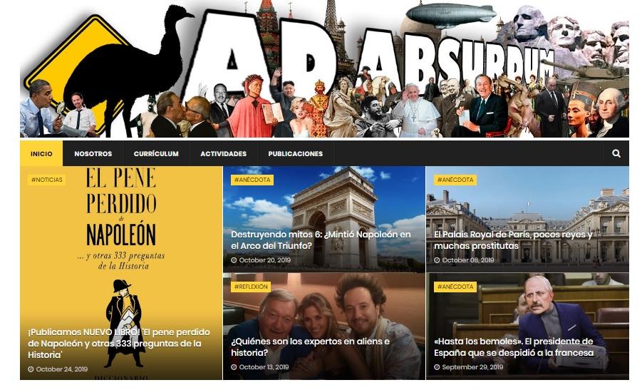 Captura de pantalla de la página de bienvenida de Ad Absurdum
