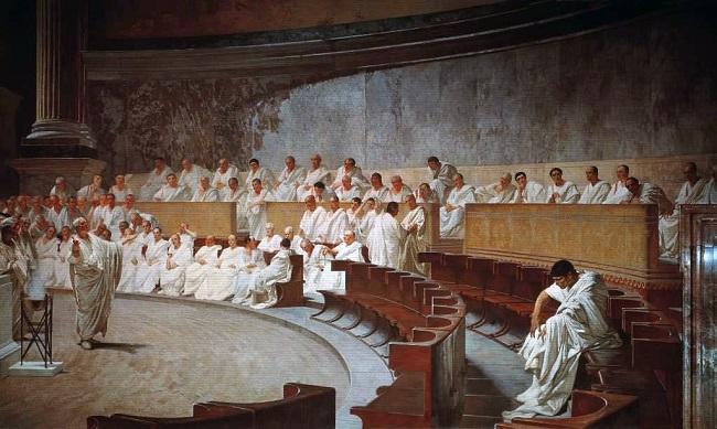 Obra del siglo XIX en el que se recrea una sesión del Senado romano, que no es lo mismo que las asambleas romanas