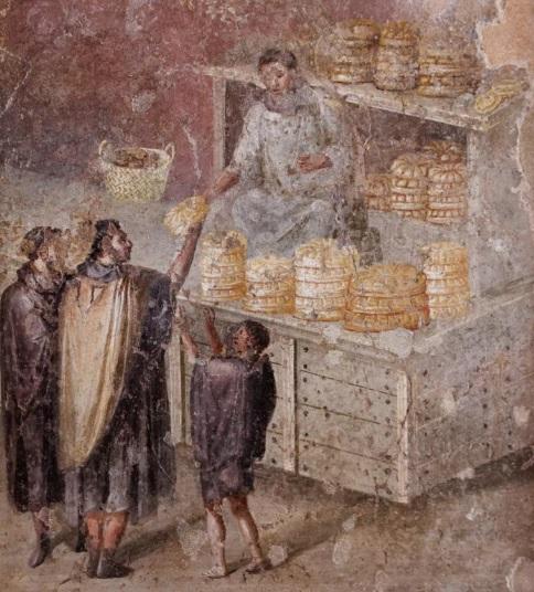 Fresco romano en el que se representa a plebeyos romanos comprando el pan. La economía era una de las reivindicaciones del conflicto patricio-plebeyo