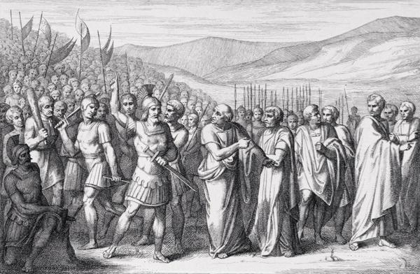 Grabado del siglo XIX que representa la primera secesión de los plebeyos romanos en el 494 aC
