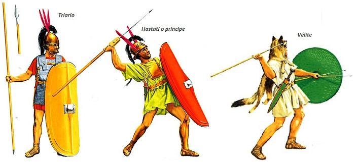 Ilustración que recrea a distintos tipos de soldados del ejército romano manipular