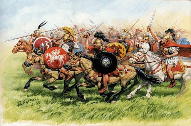 Ilustración que recrea a la caballería del ejército romano republicano, por Andrey Karashchuk Arrecaballo
