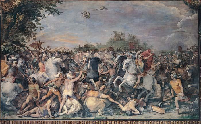 Cuadro de finales del siglo XVII que recrea una batalla contra los habitantes de Veyes y los de Fidenas, ambas objeto de la conquista romana