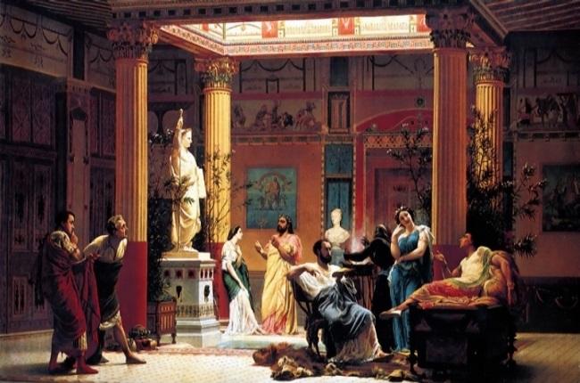 Pintura histórica de Gustave Boulanger hecha en el siglo XIX en la que se recrea la relación de un miembro de la alta sociedad romana con sus clientes de mayor confianza
