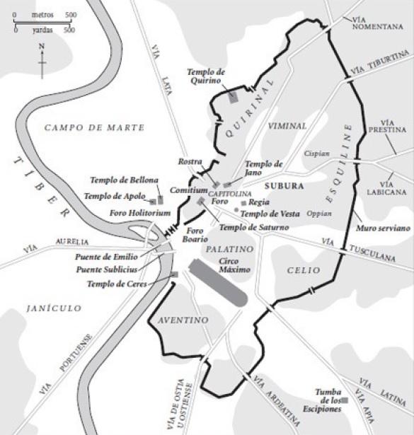 La ciudad de Roma en el siglo III a.C., años después de la guerra latina contra la liga latina