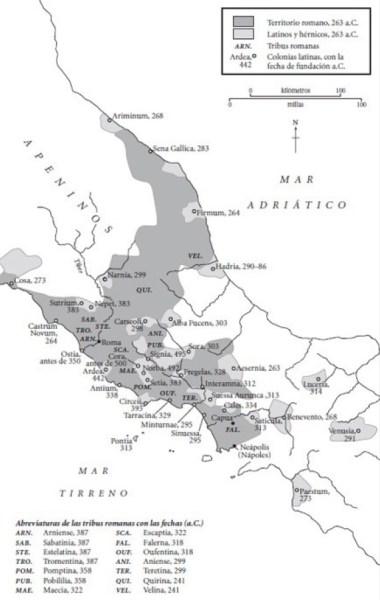 Tribus y colonias romanas de Italia a mediados del siglo III a.C., en el contexto de la guerra latina contra la liga latina