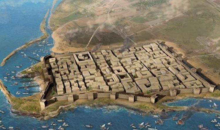 Reconstrucción del aspecto de la ciudad de Lilibeo durante el asedio de Pirro en Sicilia