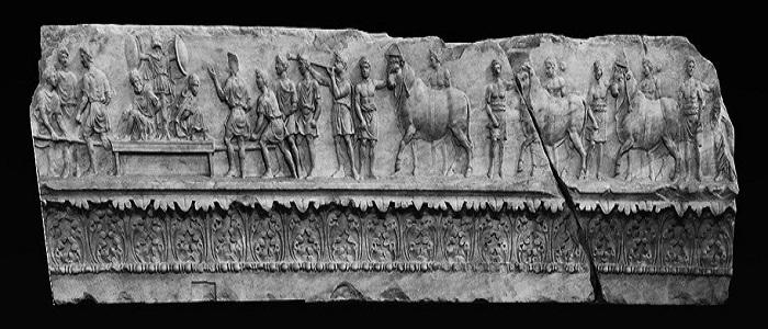 relieve de procesión sobre sacrificios romanos del Templo de Apolo Sosiano de Roma
