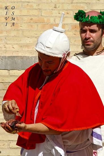 Flamen o sacerdote comprobando las entrañas del animal durante uno de los sacrificios romanos