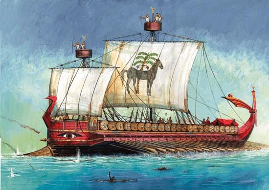 Ilustración que recrea un trirreme cartaginés como los usados en las Guerras Púnicas
