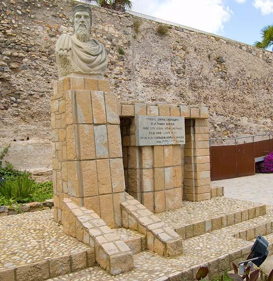 Busto dedicado a Asdrúbal el Bello, uno de los Bárquidas, en la actual Cartagena