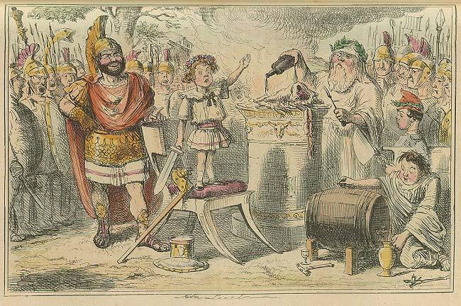 Caricatura del juramento que hizo Aníbal a su padre de ser siempre enemigo de Roma (mediados del s. XIX). Esto fue antes del viaje de los Bárquidas para la conquista de la península Ibérica.