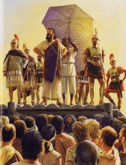 Ilustración que recrea al líder cartaginés Hannón hablando a los mercenarios reunidos en Sicca, antecedente de la guerra de los mercenarios