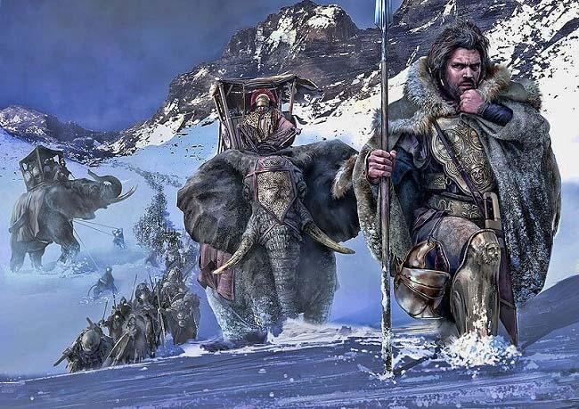 Ilustración que recrea a Aníbal Barca y su ejército cruzando los Alpes