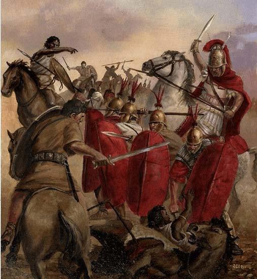 Ilustración que recrea el momento en el que matan a Publio Cornelio Escipión, padre de Escipión el Africano, durante la batalla de Cástulo del 211 a.C. (Fuente: Arrecaballo)