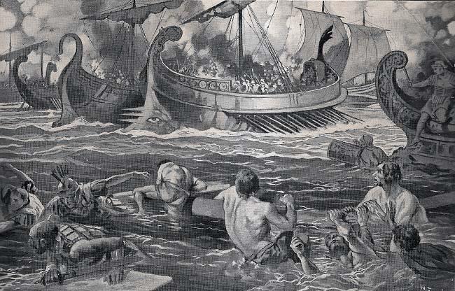 Ilustración que recrea la batalla naval entre Cneo, hermano de Publio Cornelio Escipión, y Asdrúbal Barca en el 217 a.C.