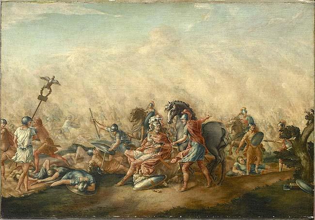 La muerte de Lucio Emilio Paulo en Cannas, según un cuadro de John Trumbull (1773)