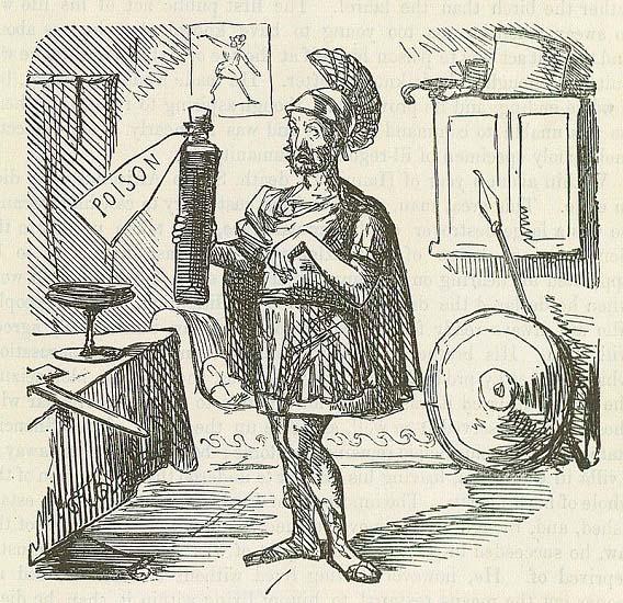 Caricatura de mediados del siglo XIX que aborda el tema del suicidio de Aníbal Barca, una de las consecuencias de la Segunda Guerra Púnica