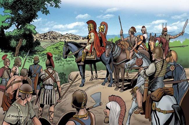 Ilustración que recrea a Aníbal y el ejército cartaginés a las puertas de Roma en el 211 a.C., después de Cannas